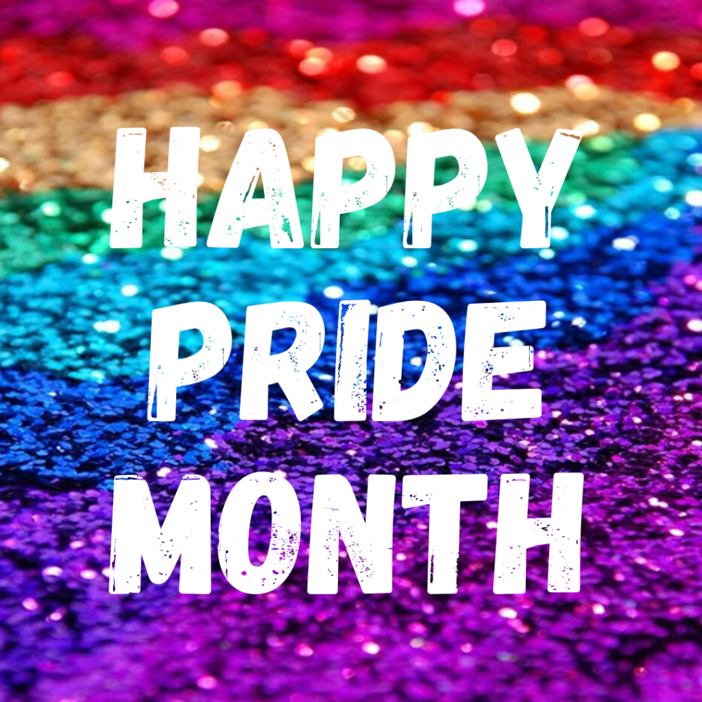 """Happy Pride Month"" in white letters on a rainbow glitter background"