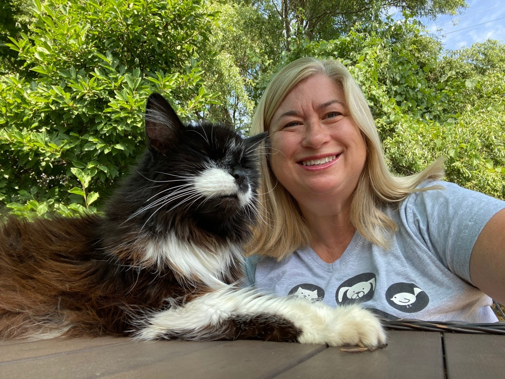Portrait of Jackie Pekar - and her cat - the host of Everyday Akron the week of August 16, 2020