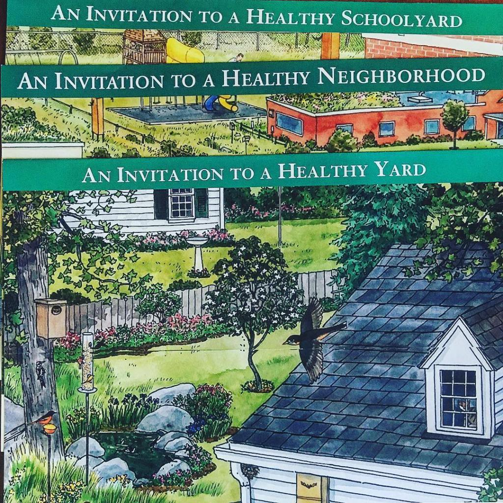 """illustrated graphic that reads: """"An invitations to a healthy schoolyard. An invitation to a healthy neighborhood. An invitation to a healthy yard."""""""