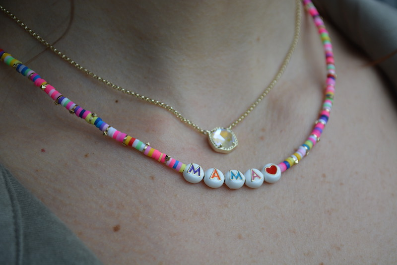 """jewelry from The Gardener of Bath, including a beaded necklace that spells """"MAMA"""""""